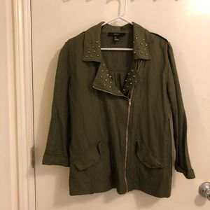Olive Green Utility Jacket with Gold Studs